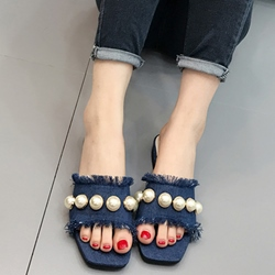 Shoespie Blue Raw Edge Denim Big Pearls Decorated Slippers