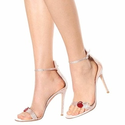 Shoespie Super Cute Pink Cherries Ankle Strap Stiletto Heel Glitter Sandals