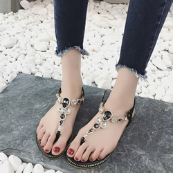 Shoespie Two Tone Rhinestone Thong Flat Sandals