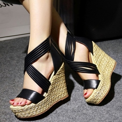 Shoespie Stylish Cross Wrap Wedge Sandals