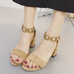 Shoespie Flora Applique Ankle Strap Block Heel Sandals