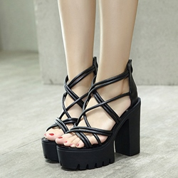 Shoespie Black Strappy Rugged Platform Chunky Heel Sandals