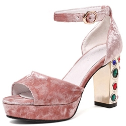 Shoespie Velvet Platform Ankle Strap Dress Sandals