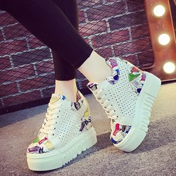 Shoespie Gorgeous Fun Print Hidden Elevator Heel Sneakers