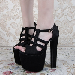 Shoespie Black Dating Out Platform Sandals