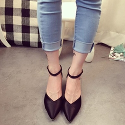 Shoespie Fashion Pointed Toe Glueing Line-Style Buckle Low Heels