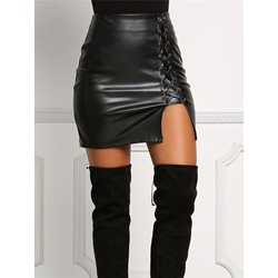 Asymmetric Plain Mini Skirt High-Waist Women's Skirt
