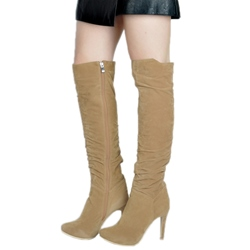 Shoespie Khaki Plain Stiletto Knee High Boots