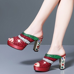 Shoespie Tripple Color Glitter Sandals Mules
