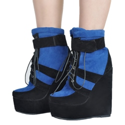 Shoespie Trendy Color Block Wedge Heel Fashion Booties