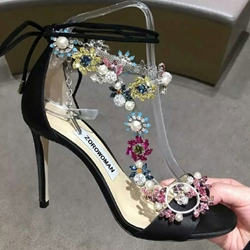 Shoespie Delicate Rhinestone Decorated Stiletto Heel Dress Sandals