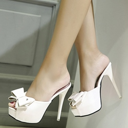 Shoespie Sylish Bow Peep Toe Stiletto Heel Mules