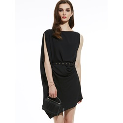 Slash Neck Plain Asymmetric Women's Day Dress