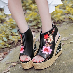 Shoespie Black Exotic Camellia Embroidered Wedge Sandals