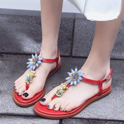 Shoespie Cute Flora Appliques Thong Flat Sandals