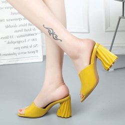 Shoespie Elegant Candy Color Block Heel Mules Shoes