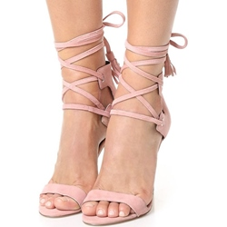 Shoespie Pink Strappy Lace Up Stiletto Heel Dress Sandals