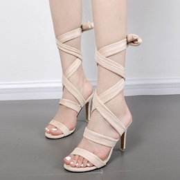 Shoespie Strappy Lace Up Stiletto Heel Roman Sandals