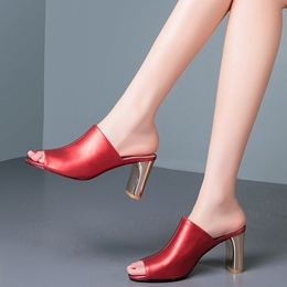 Shoespie Fashionable Genuine Leather Chunky Heel Mules