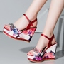 Shoespie Classy Floral Print Wedge Sandals