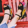 Shoespie Smart Black Print Platform Sandals