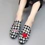 Shoespie Black-White Lattice Fashion Pattern Buckle Flats
