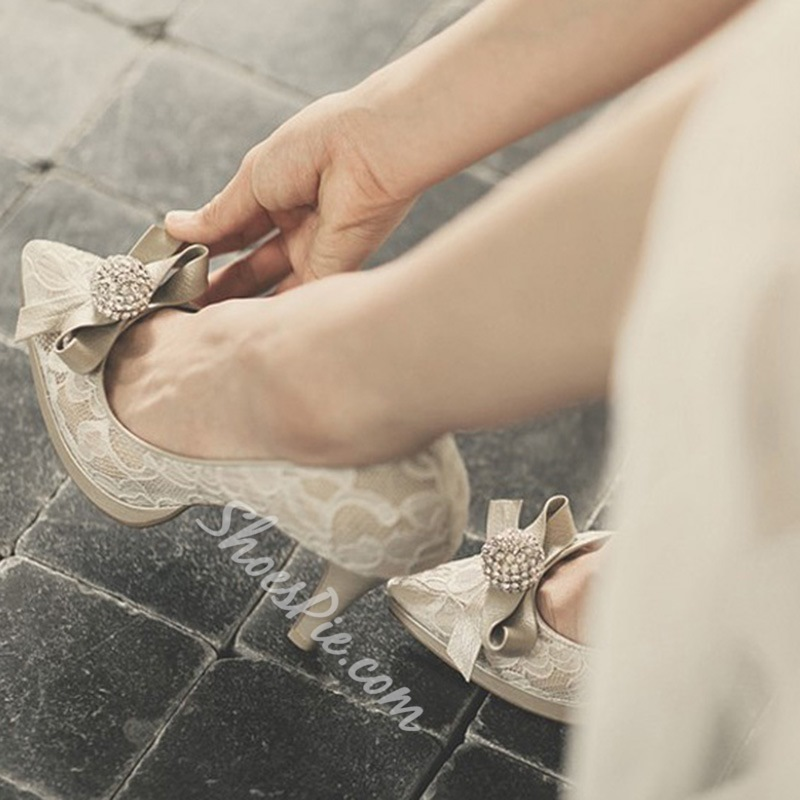 Shoespie Dreaming Champagne Lace Bow Bridal Shoes