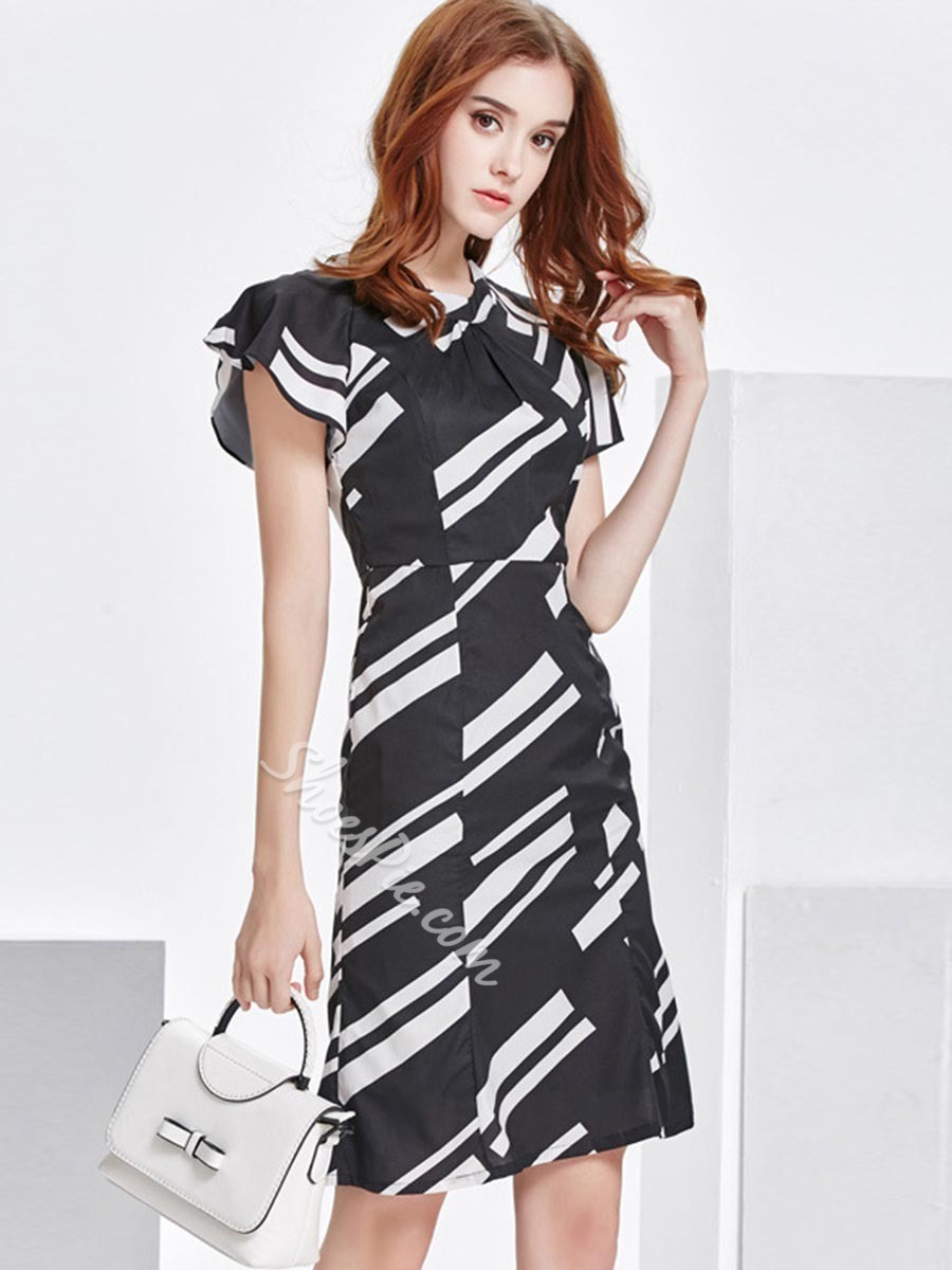Shoespie Mermaid Color Block Short Sleeve Bodycon Dress