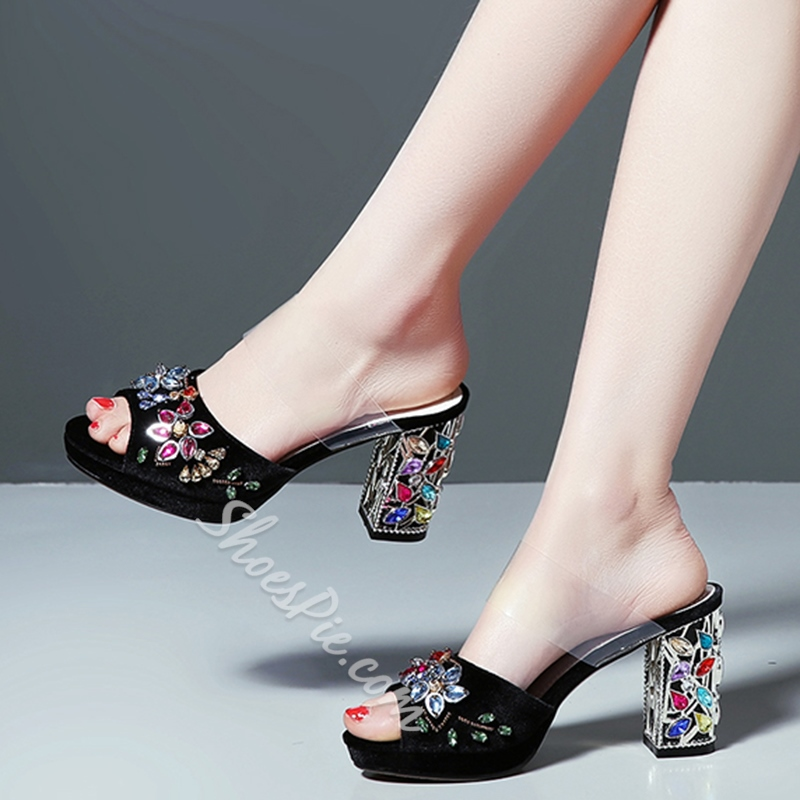 Shoespie Delicate Velvet Colorful Rhinestones Cutout Chunky Heel Mules