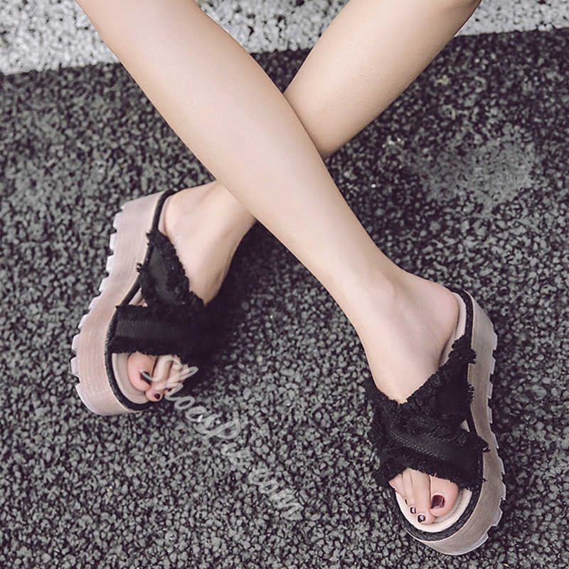 Shoespie Raw Edge Denim Open Toe Platform Flip Flops
