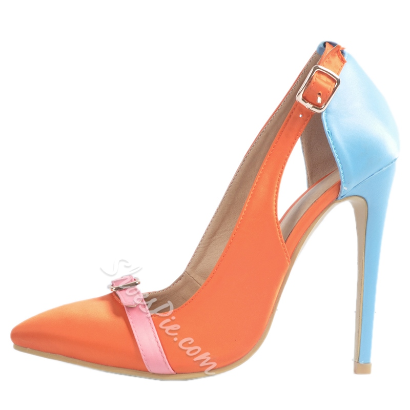Shoespie Elegant Orange Cut Out Stiletto Heels