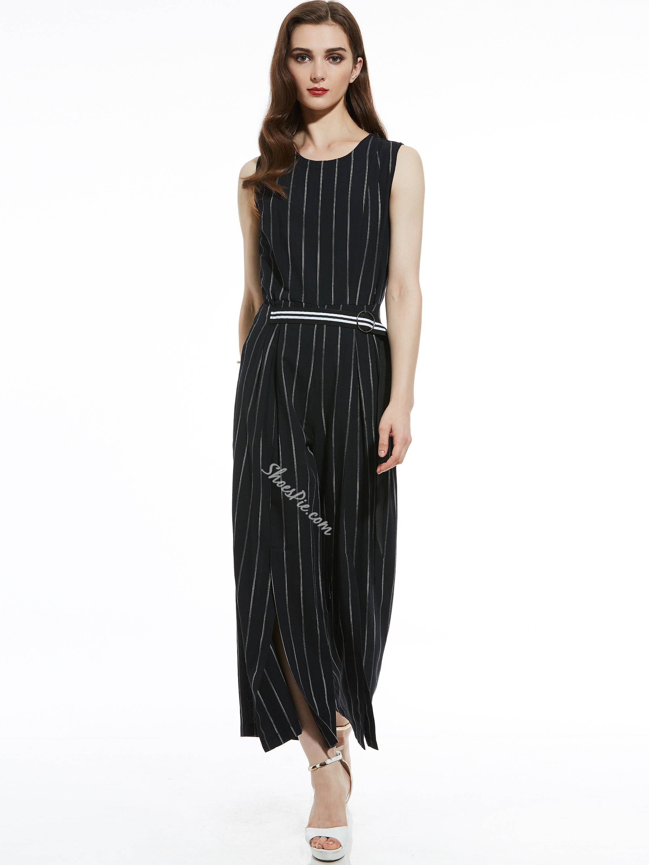 Slim Stripe Wide Legs Women's Jumpsuit