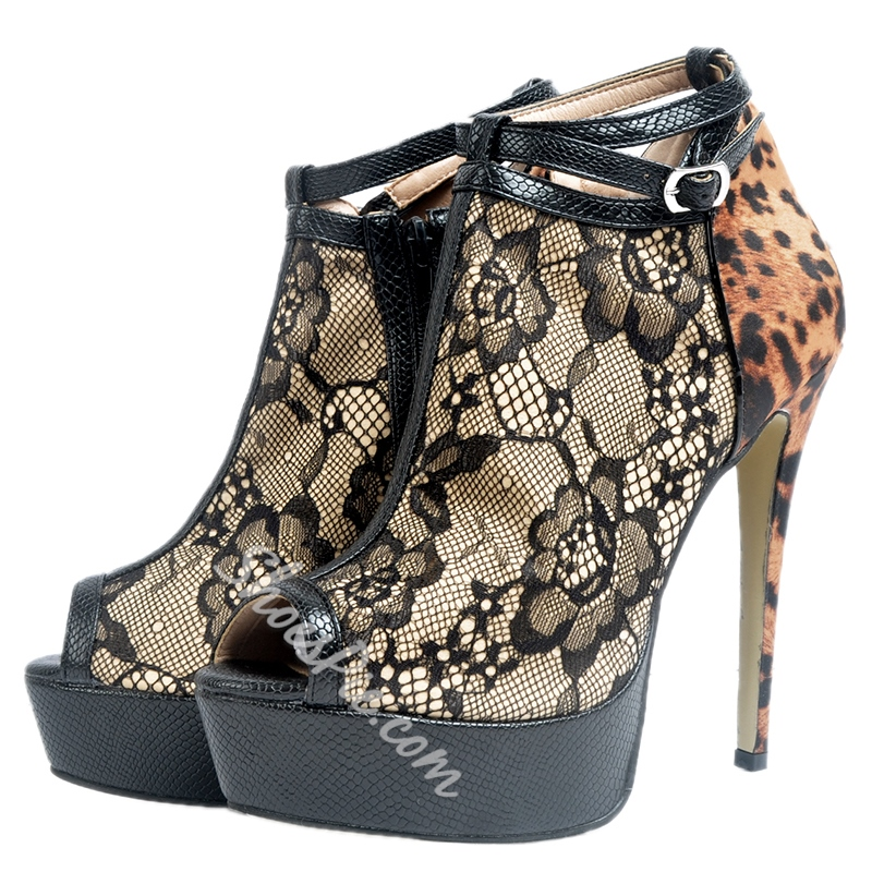 Shoespie Sexy Lace PU Patchwork Platform Fashion Booties