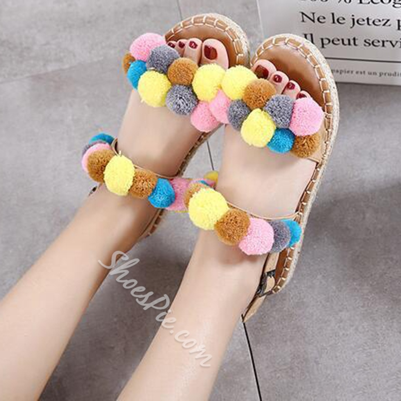 Shoespie Cute Colorful Pompom Flat Sandals