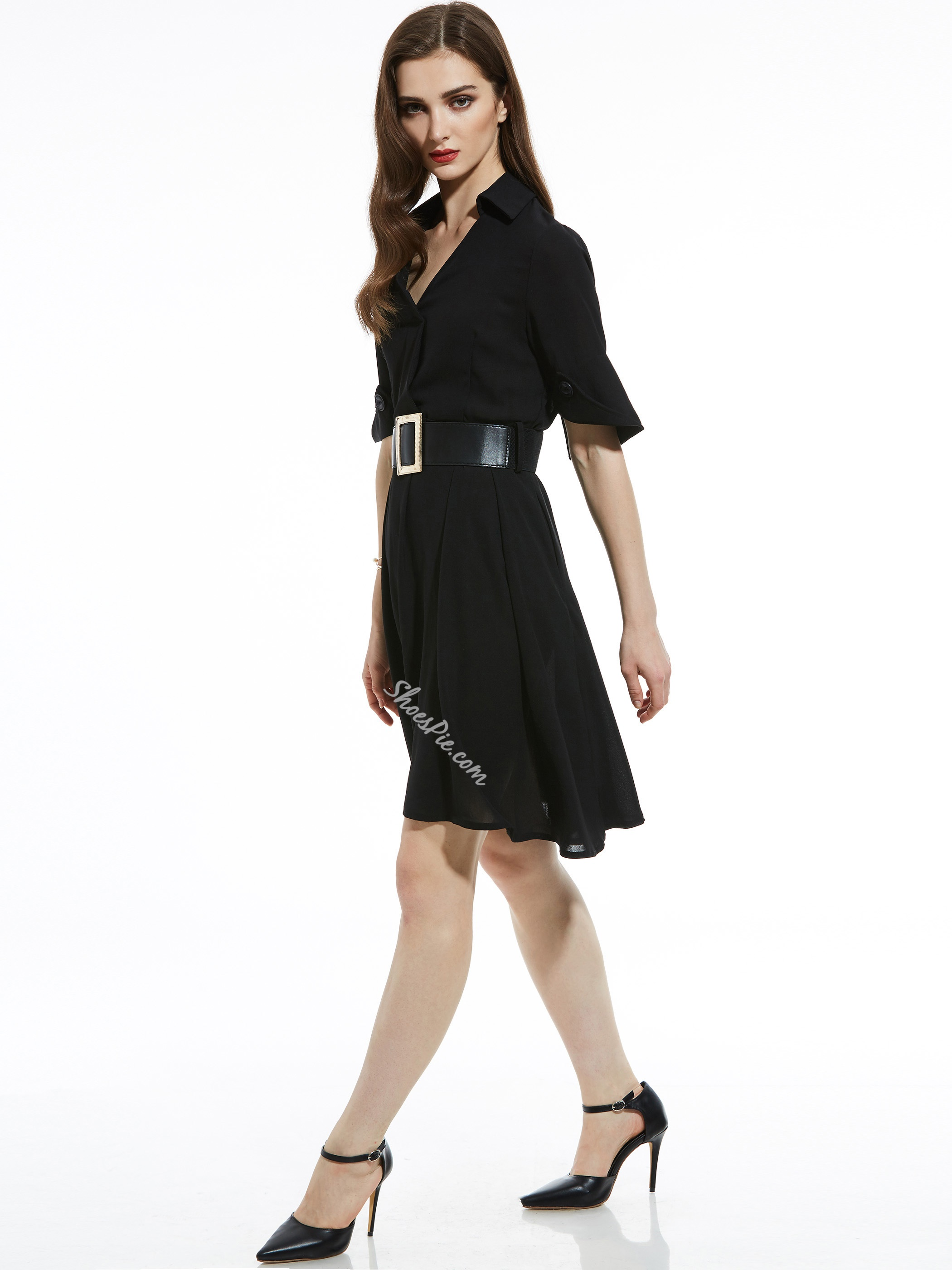 Lapel Belt-Included Plain Women's Day Dress
