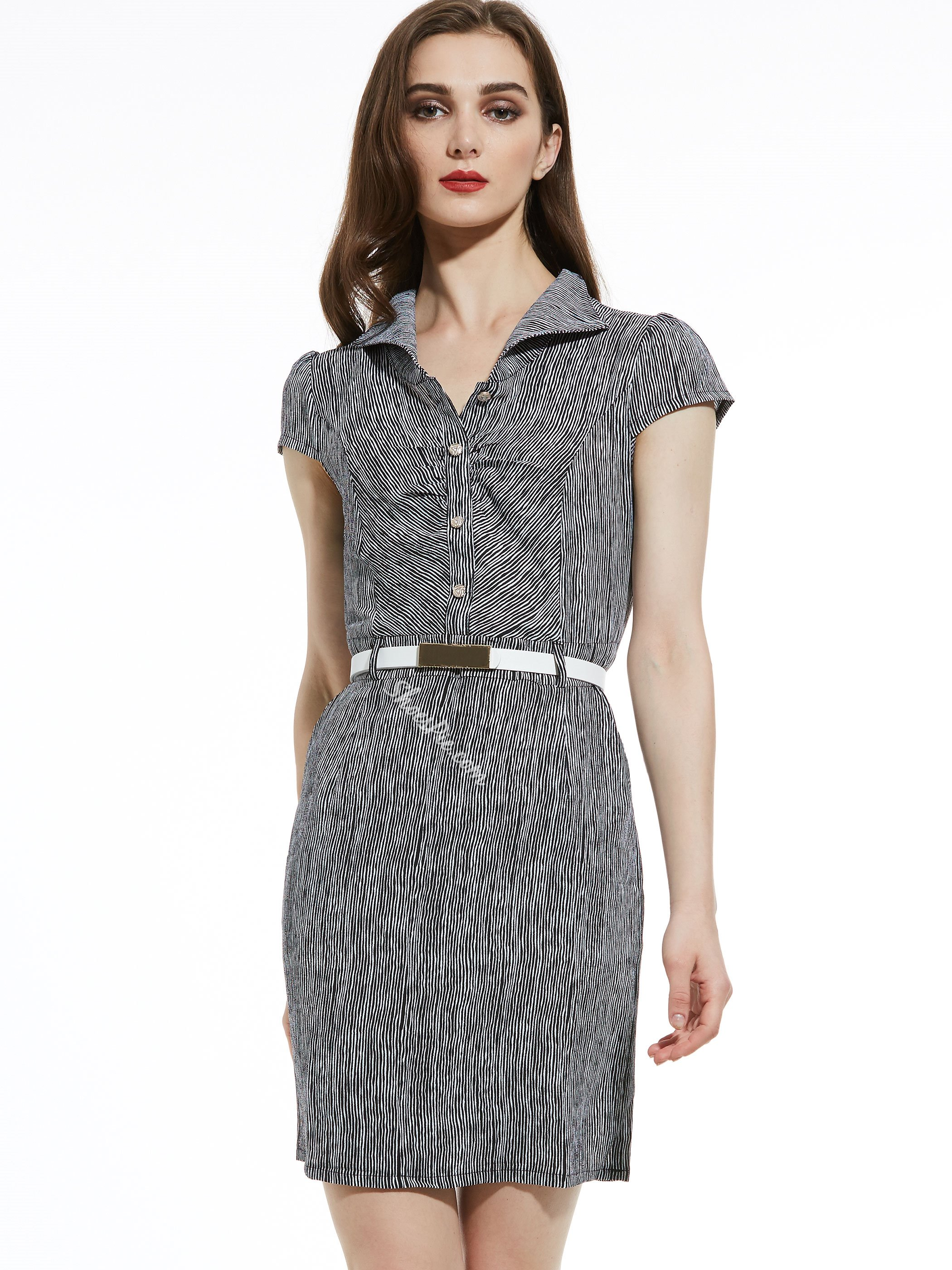 Lapel Stripe Belt-Included Women's Bodycon Dress