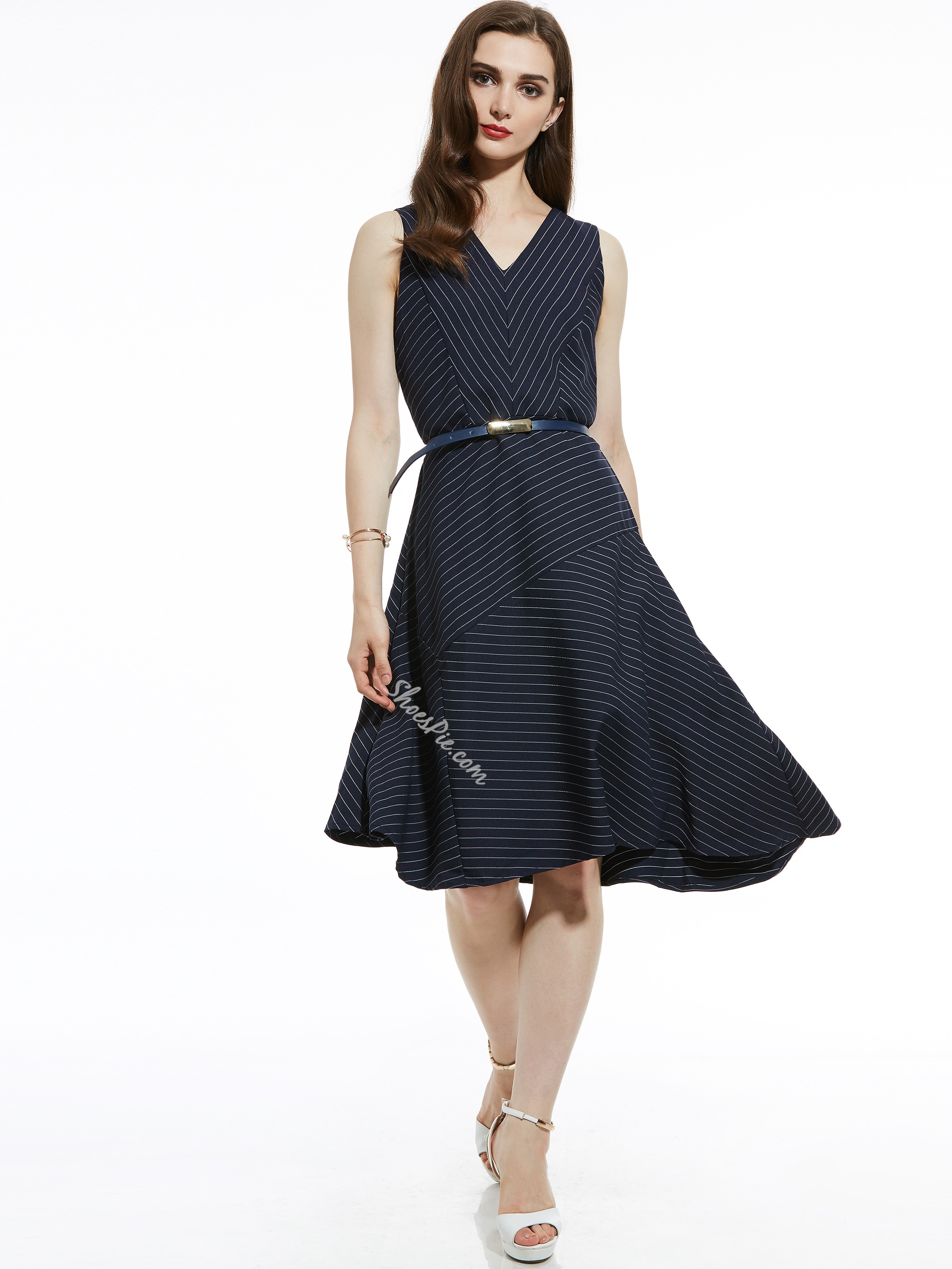 V-Neck Stripe Belt-Included Asymmetric Women's Day Dress