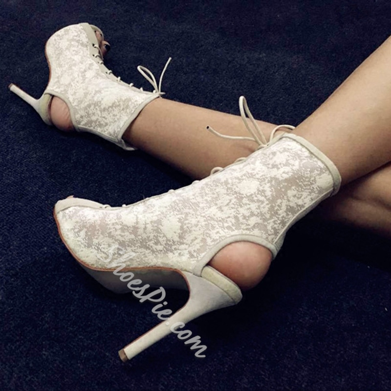 Shoespie Stylish Beige All Lace Backless Summer Booties