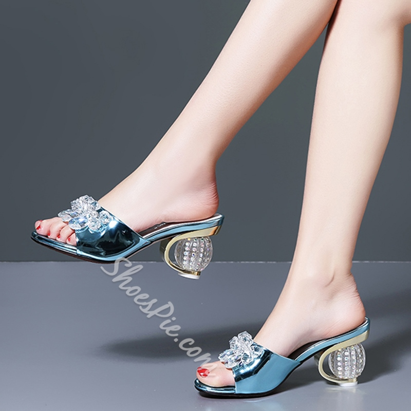 Shoespie Gorgeous Crystal Low Round Heel Mules