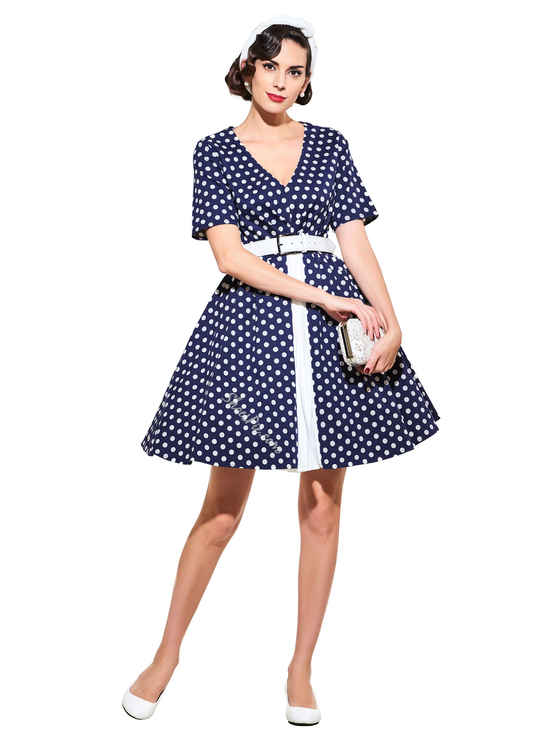 V-Neck Standard-Waist Short Sleeve Vintage Dress