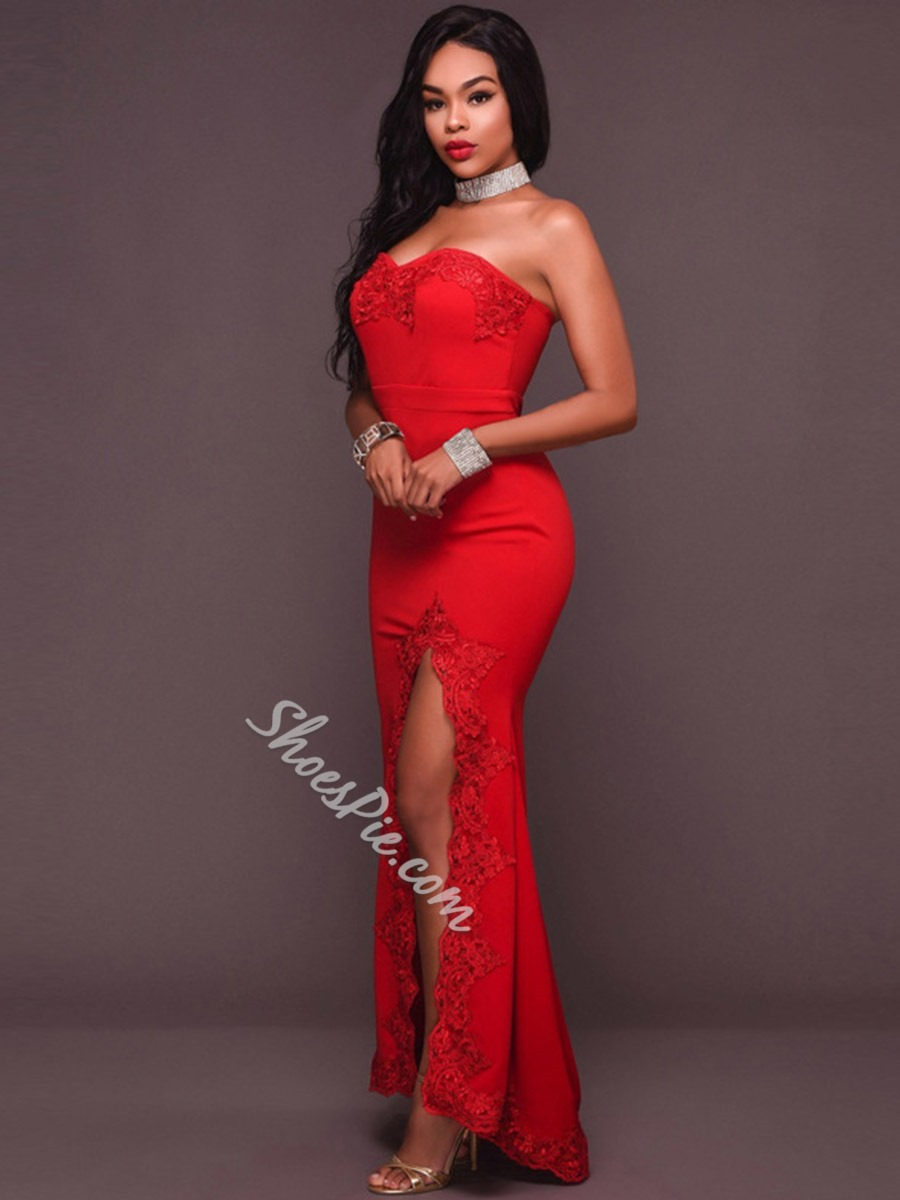 Red Lace Sleeveless Strapless Bodycon Dresses