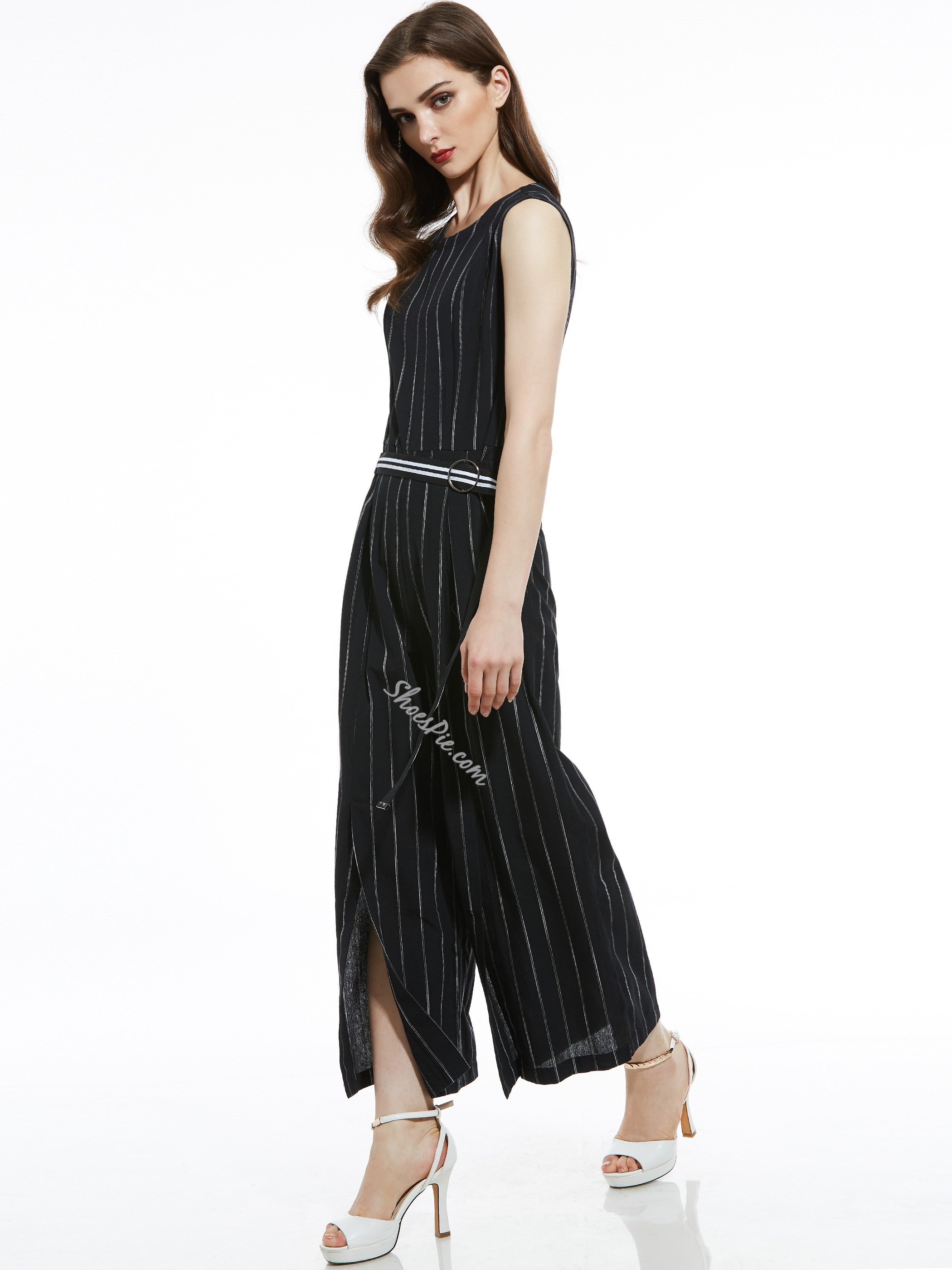 7757ceed80fd Slim Stripe Wide Legs Women s Jumpsuit- Shoespie.com