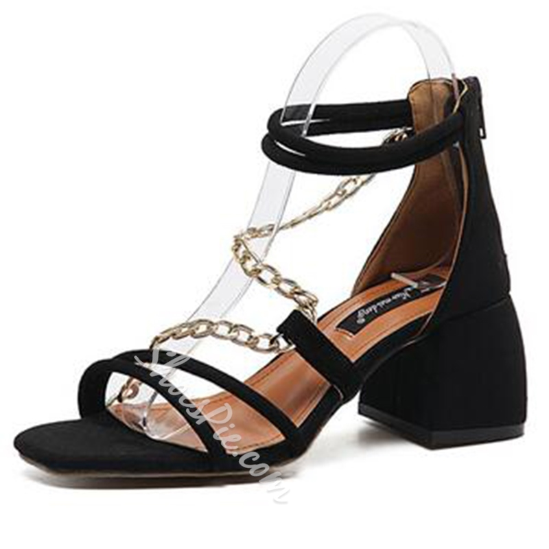 Shoespie Black Chains and Straps Block Heel Sandals