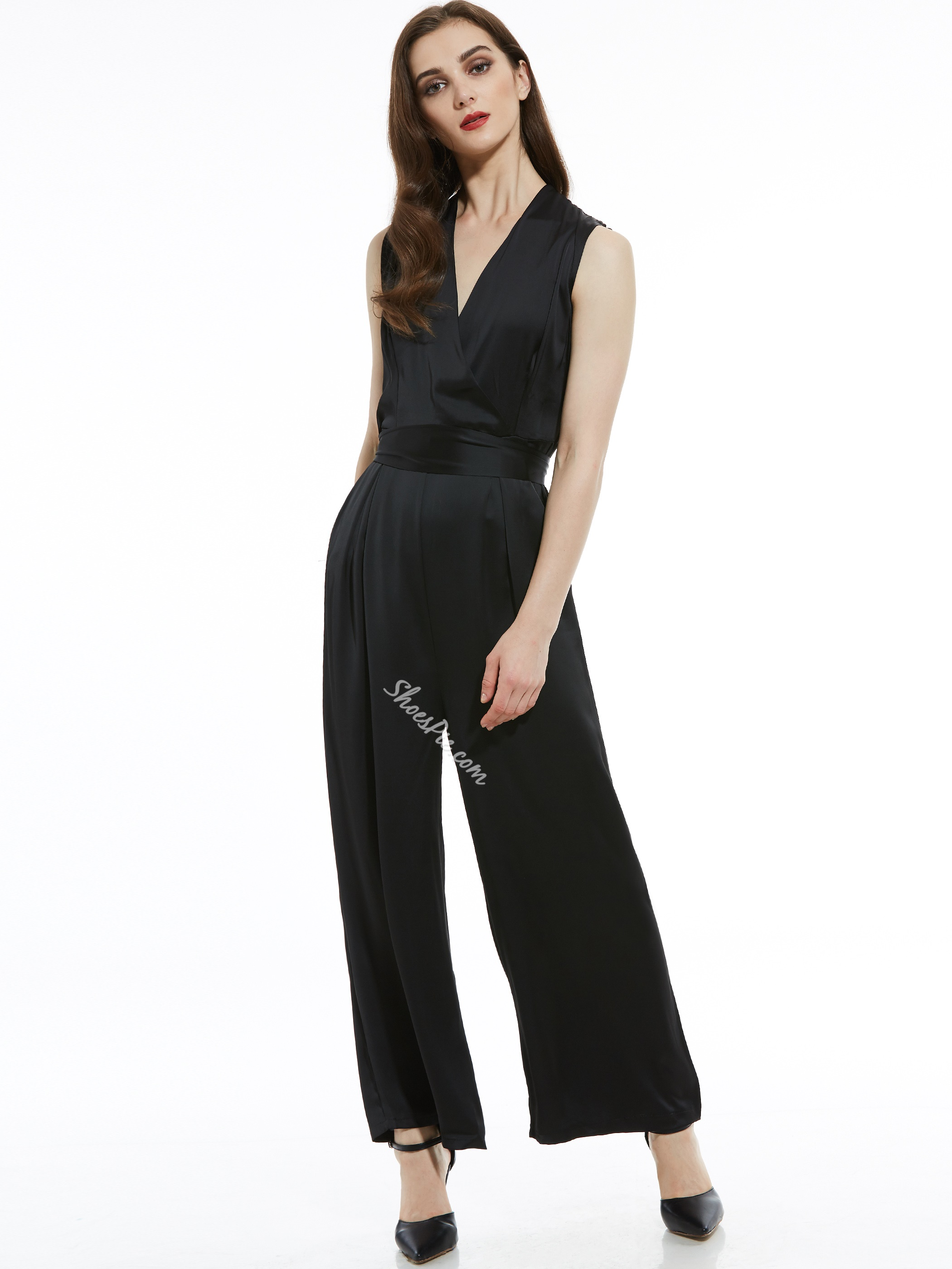 Slim Plain Belt Wide Legs Women's Jumpsuit