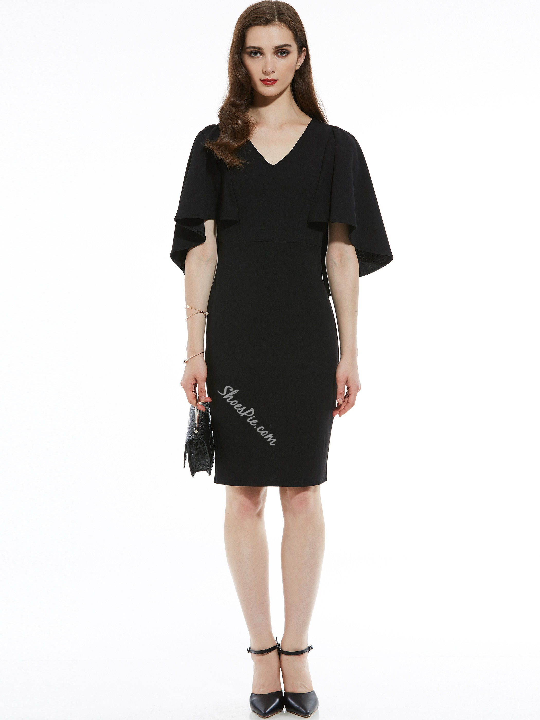 V-Neck Batwing Sleeve Women's Pencil Dress