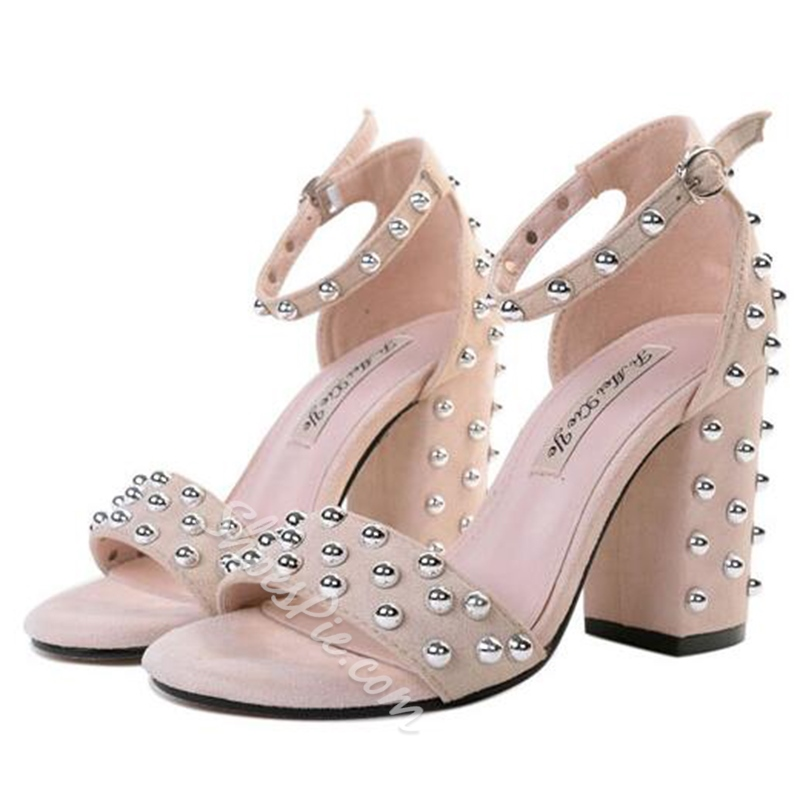 Shoespie Rivets Ankle Strap Chunky Heel Sandals