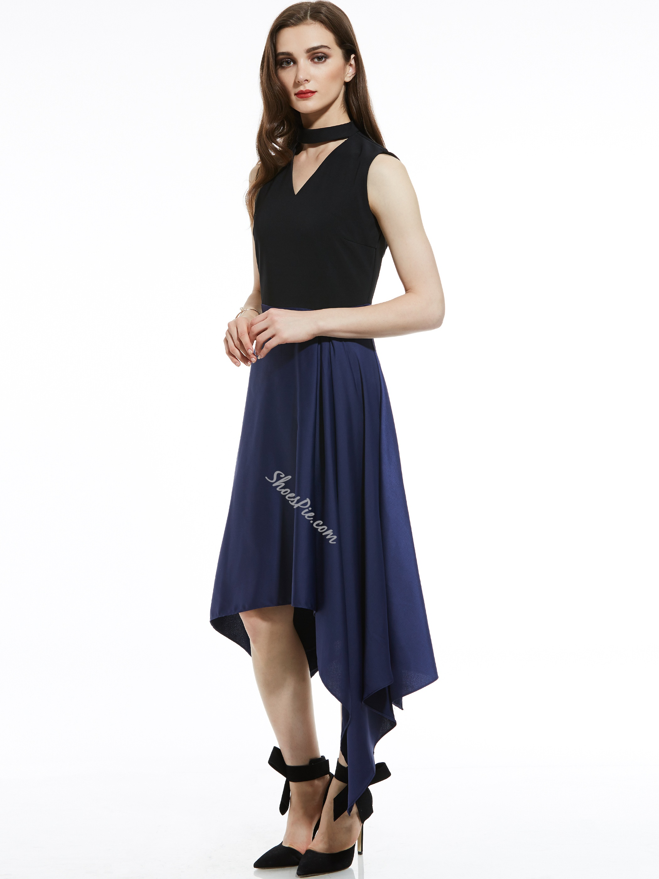 V-Neck Color Block Asymmetrical Women's Day Dress