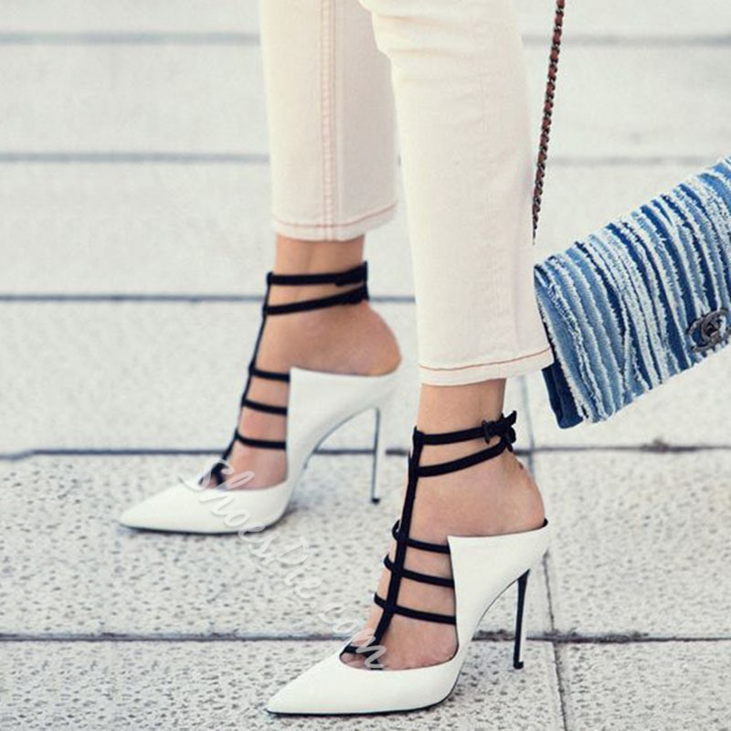 Shoespie Color Block Closed Toe Heel Sandals Shoespie