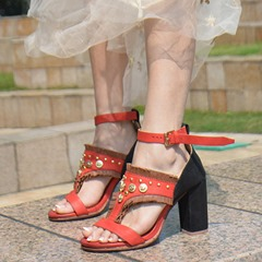 Shoespie Handsome Red Ankle Wrap Dress Sandals