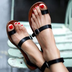 Shoespie Black Clip Toe Strappy Buckles Flat Roman Sandals